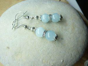 Boucles d'oreilles Aigue marine - Perles rondes 8 mm