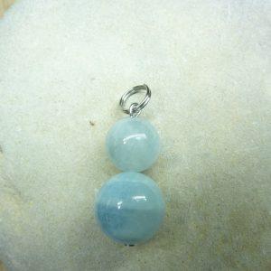 Pendentif Aigue marine - Perles rondes 12-8 mm