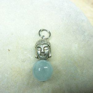 Pendentif Aigue marine Bouddha - Perles rondes 10 mm