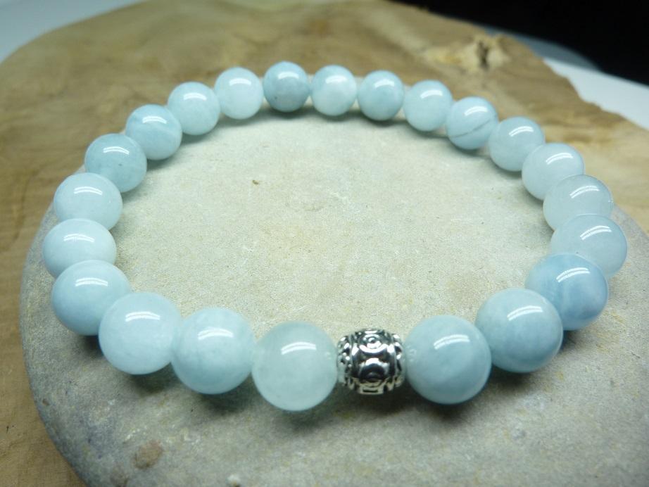 Bracelet Aigue Marine - Perles rondes 8 mm
