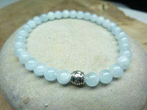 Bracelet Aigue Marine - Perles rondes 6 mm