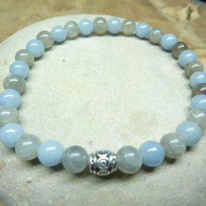 Bracelet Labradorite-Angélite - Perles rondes 6 mm