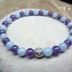 Bracelet Améthyste-Angélite - Perles rondes 6 mm