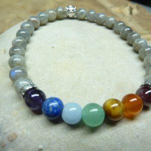 Bracelet Chakras-Labradorite - Perles rondes 6 mm
