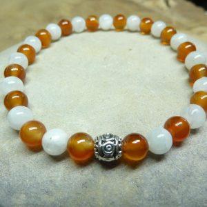 Bracelet Pierre de lune-Cornaline - Perles rondes 6 mm