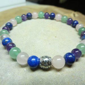 Bracelet Aventurine-Lapis lazuli-Améthyste-quartz rose 6 mm