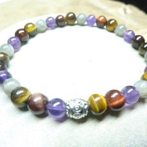 Bracelet Oeil de tigre-taureau-Labradorite-Améthyste - Perles rondes 6 mm