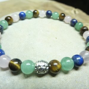 Bracelet Aventurine-Lapis lazuli-Oeil de tigre-quartz rose 6 mm