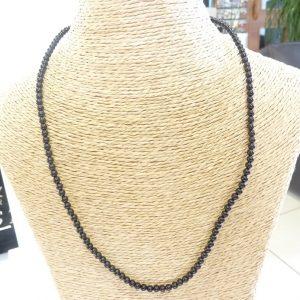 Collier Tourmaline noire - Perles rondes 4 mm