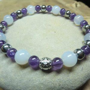 Bracelet Calcédoine bleue-Améthyste-Hématite