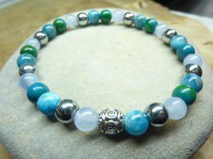 bracelet Calcédoine-Apatite-Hématite-Chrysocolle