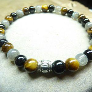 Bracelet Oeil de tigre-Labradorite-Tourmaline noire 6 mm