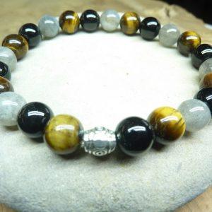 Bracelet Oeil de tigre-Labradorite-Tourmaline noire 8 mm