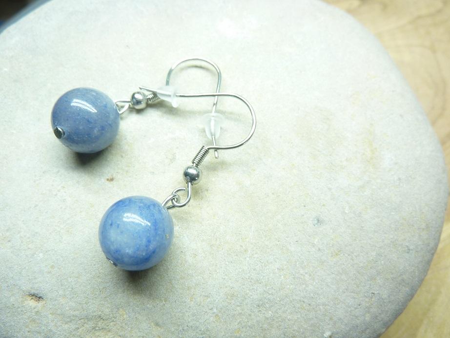 Boucles d'oreilles Aventurine bleue - Perles rondes 10 mm