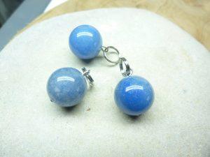 Pendentif Aventurine bleue - Perles rondes 10 mm