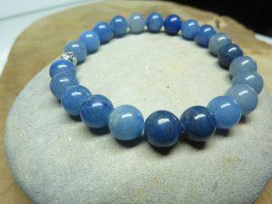 Bracelet Aventurine bleue - Perles rondes 8 mm