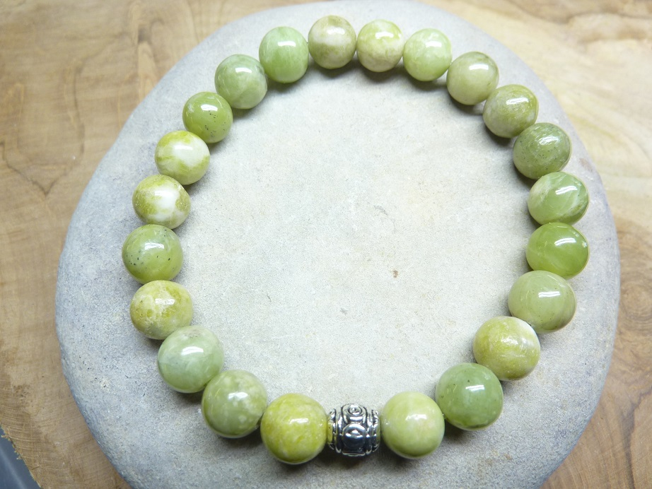 Bracelet péridot - Perles rondes 8 mm