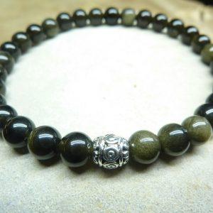 Bracelet Obsidienne dorée - Perles rondes 6 mm