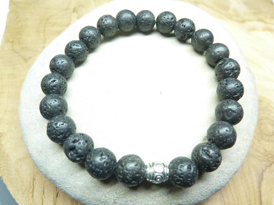 Bracelet Pierre de lave - Perles rondes 8 mm