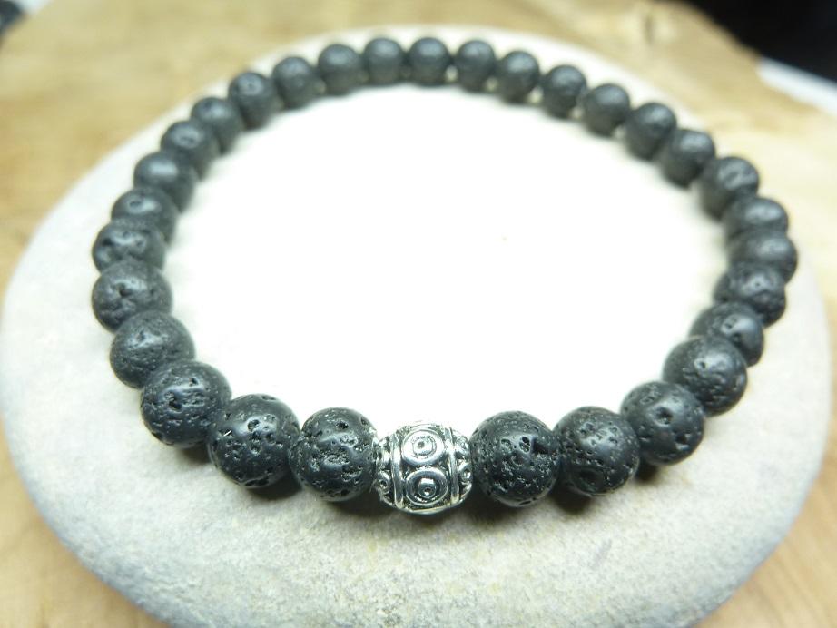 Bracelet Pierre de lave - Perles rondes 6 mm