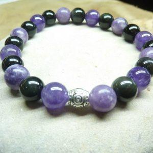 Bracelet Lépidolite-Améthyste-Obsidienne oeil céleste - Perles rondes 8 mm