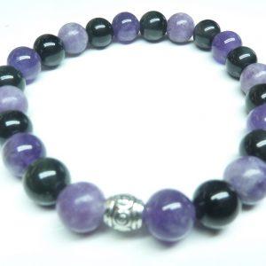 Bracelet Lépidolite-Améthyste-Obsidienne oeil céleste - Perles rondes 6 mm