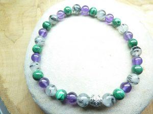 Bracelet Améthyste-Malachite-Quartz Tourmaliné - Perles rondes 6 mm