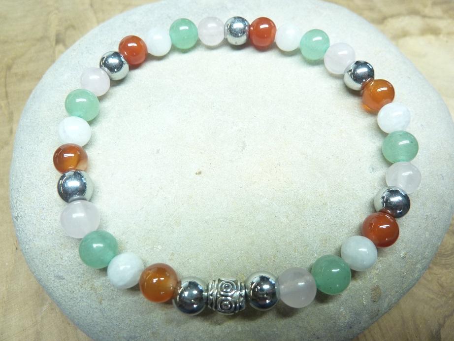 Bracelet Pierre de lune-Quartz rose-Cornaline-Hématite - Perles rondes 6 mm