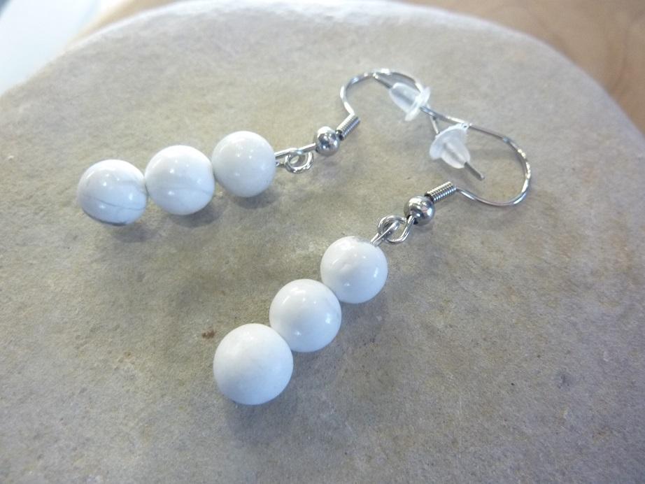 Boucles d'oreilles Howlite - Perles rondes 6 mm