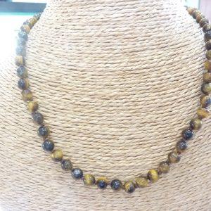 Collier Oeil de tigre - Perles rondes 6 mm
