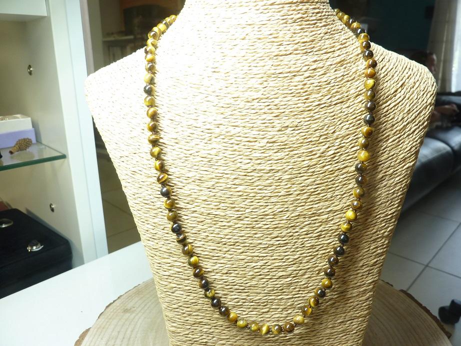Collier Oeil de tigre - Perles rondes 6 mm L 62 cm