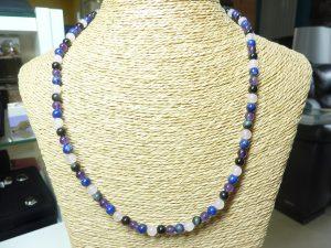 Collier Améthyste-Lapis Lazuli-Obsidienne oeil céleste-Quartz rose