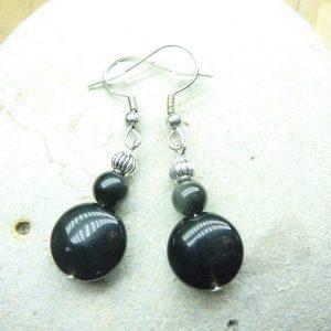 Boucles d'oreilles Obsidienne oeil céleste