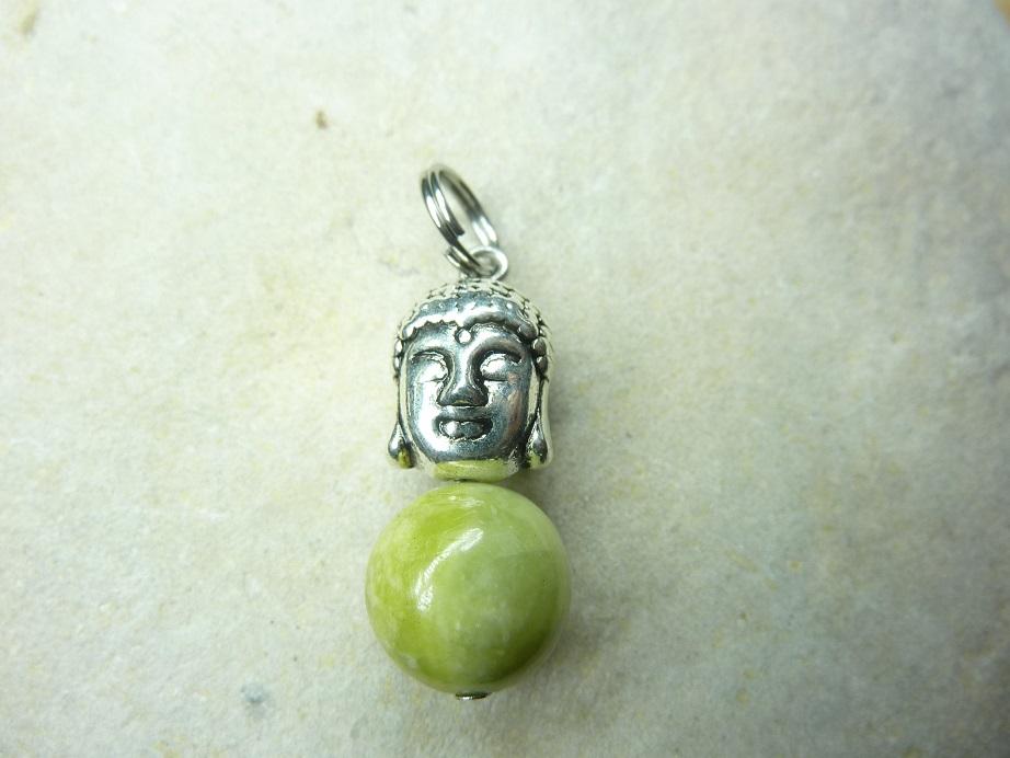 Pendentif Péridot-Bouddha-Perles rondes 10 mm