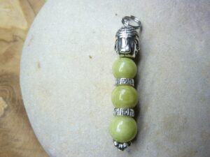 Pendentif Péridot-Bouddha-Perles rondes 8 mm
