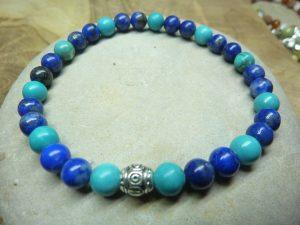 Bracelet Turquoise-Lapis lazuli - perles rondes 6 mm