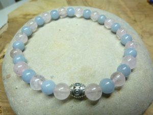 Bracelet Quartz rose-Angèlite - perles rondes 6 mm