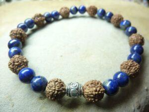 Bracelet Lapis lazuli-Rudraksha perles rondes 8-6 mm