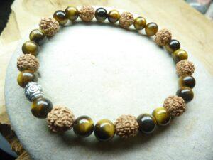 Bracelet Oeil de tigre-Rudraksha perles rondes 8-6 mm