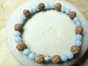 Bracelet Angélite-Rudraksha perles rondes 8-6 mm