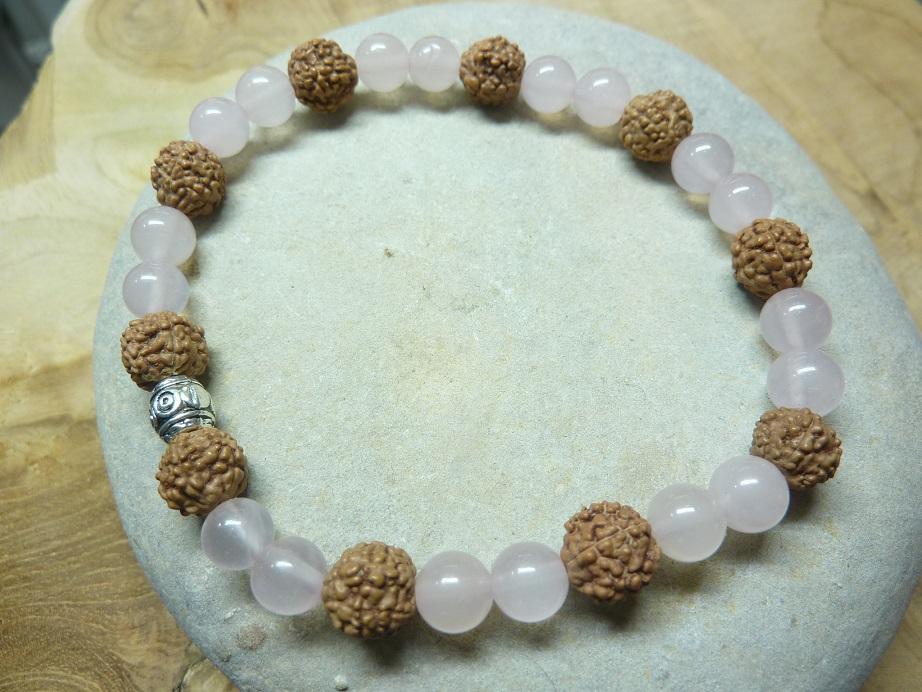 Bracelet Quartz rose-Rudraksha perles rondes 8-6 mm