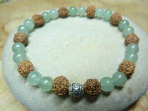 Bracelet Aventurine-Rudraksha perles rondes 8-6 mm