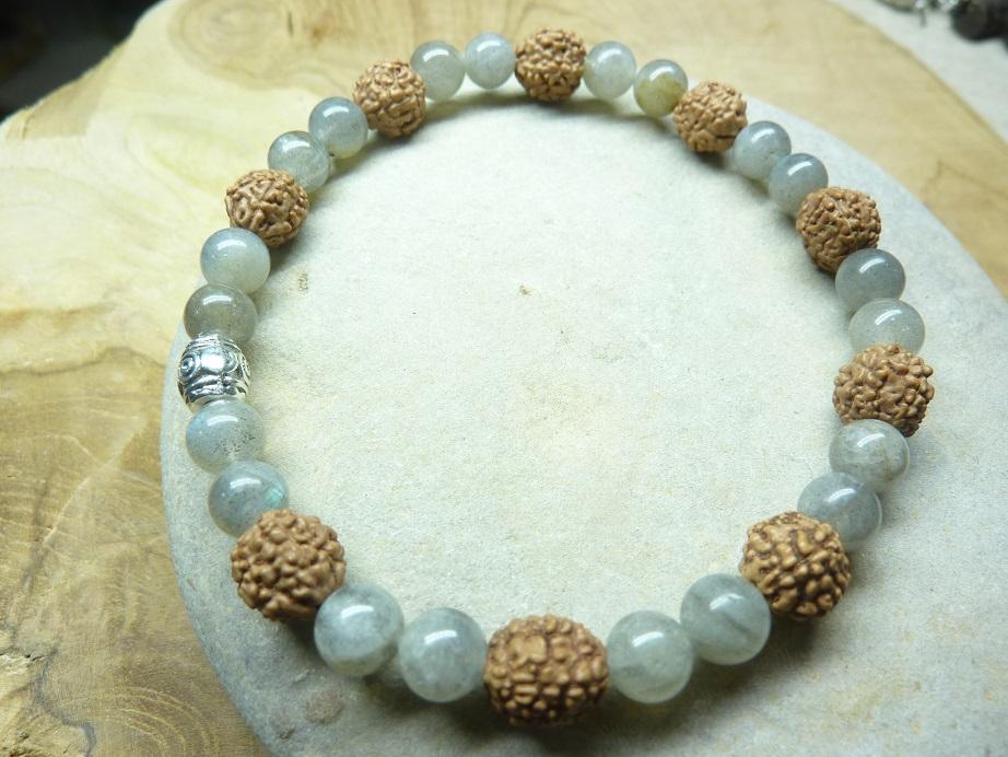 Bracelet Labradorite-Rudraksha perles rondes 8-6 mm