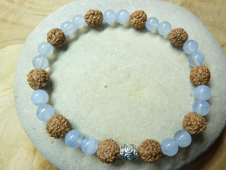 Bracelet Calcédoine bleue-Rudraksha perles rondes 8-6 mm