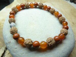 Bracelet Cornaline-Jaspe rouge-Rudraksha perles rondes 8-6 mm