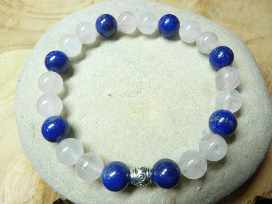 Bracelet Lapis lazuli-Quartz rose - Perles rondes 8 mm