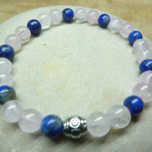 Bracelet Lapis lazuli-Quartz rose - Perles rondes 6 mm