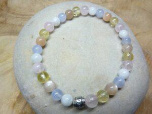 Bracelet Citrine-Quartz rose-Calcédoine bleue-Pierre de lune-pierre de soleil