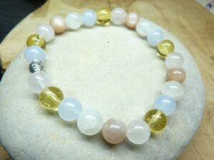 Bracelet Citrine-Quartz rose-Calcédoine bleue-Pierre de lune-pierre de soleil-Perles 8 mm