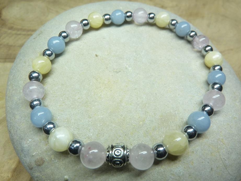 Bracelet Calcite orange-Quartz rose-Angélite-Hématite